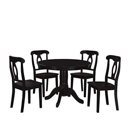 Dorel Asia 5-Piece Aubrey Traditional Pedestal Height Dining Set, Black