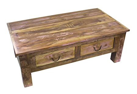 Couch-Tisch mit Schubladen 110cm aus recyceltem Holz