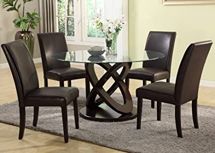 Roundhill Furniture 5 Piece Cicicol Glass Top Dining Table with Chairs, Espresso