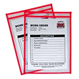 C-Line Neon Stitched Shop Ticket Holders, Red, Both Sides Clear, 9 x 12 Inches, 15 per Box (43914)