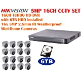 5 Megapixel Hikvision 16CH TURBO HD CCTV System with 16CH DVR with 6TB HDD and 16x 5MP IR 2.8mm lens Outdoor Mini-Dome Cameras