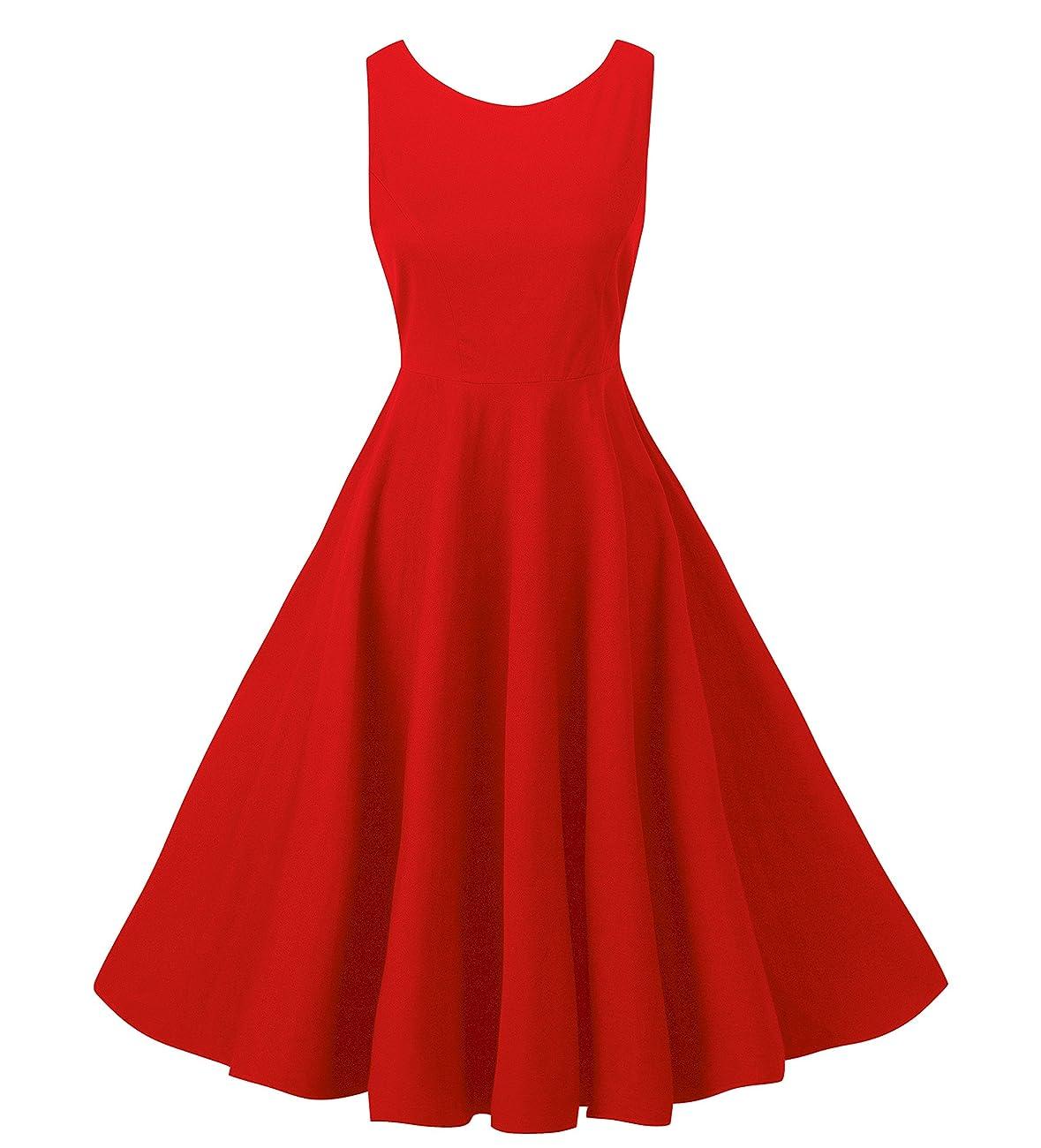NINEWE Women's Classy Audrey Hepburn 1950s Vintage Rockabilly Swing Dress 0