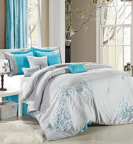 All Season Stratford 8 Piece Embroidered Comforter Set Cal King Gray Includes Comforter Bedskirt 2 King Shams 2 Euro Shams 2 Decorative Pillows Comforter Sets Home Kitchen
