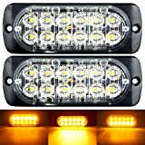WEISIJI LED Warning Light,36W LED Work Light Ultra-thin Multi-mode Car Truck Emergency Strobe Light Bar(12-Leds,Amber color,2pcs)