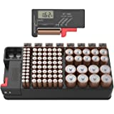 Battery Organizer Storage case with Tester can Hold 110 Battery Various Sizes for AAA, AA, 9V, C and D Size and Digital Battery Tester (Color: Black, Tamaño: Large)