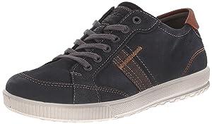 ECCO Men's Ennio Retro Sneaker Fashion Sneaker, Black/Cognac, 45 EU/11-11.5 M US