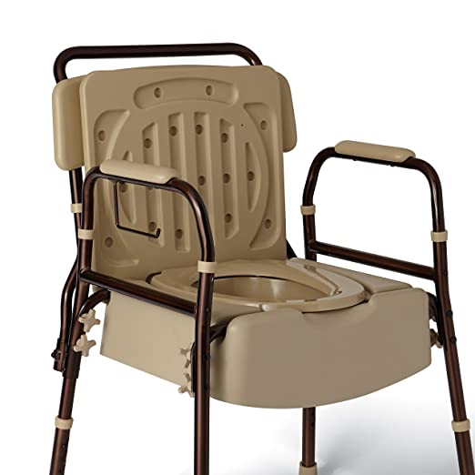New Medline Elements Bedside Bariatric Commode With