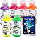 TESTORS - AZTEK Premium FLUORESCENT Acrylic Airbrush Paint 6-Color Set & FREE How to Airbrush Manual