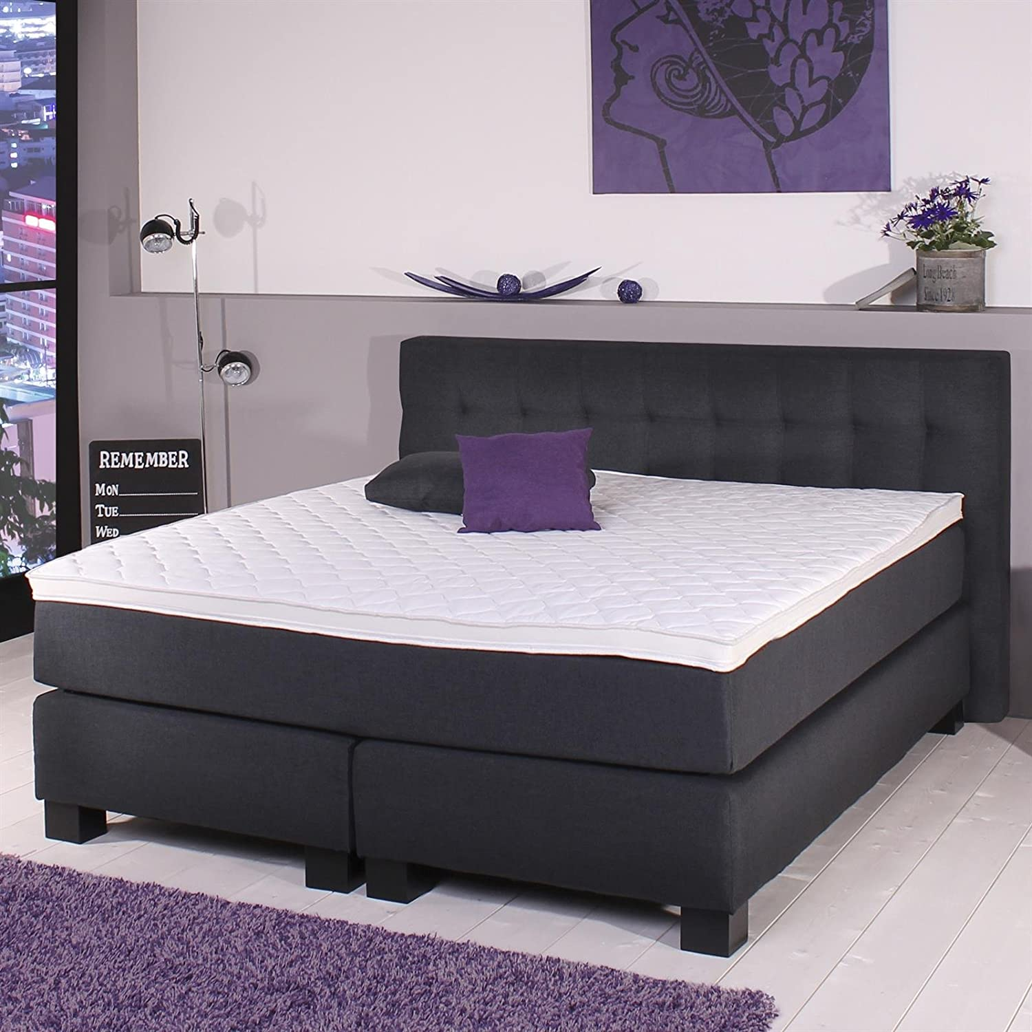 boxspringbett doppelbett hotelbett 180 x 200 cm mit matratze bezug leinen optik schwarz jetzt. Black Bedroom Furniture Sets. Home Design Ideas