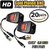 UTP balun hd Ventech cat5 to bnc video baluns transceiver passive with power connector compatible with all CCTV technologies( analog AHD TVI CVI ntsc pal ) 20 PAIRS rj45 75 ohn connectors