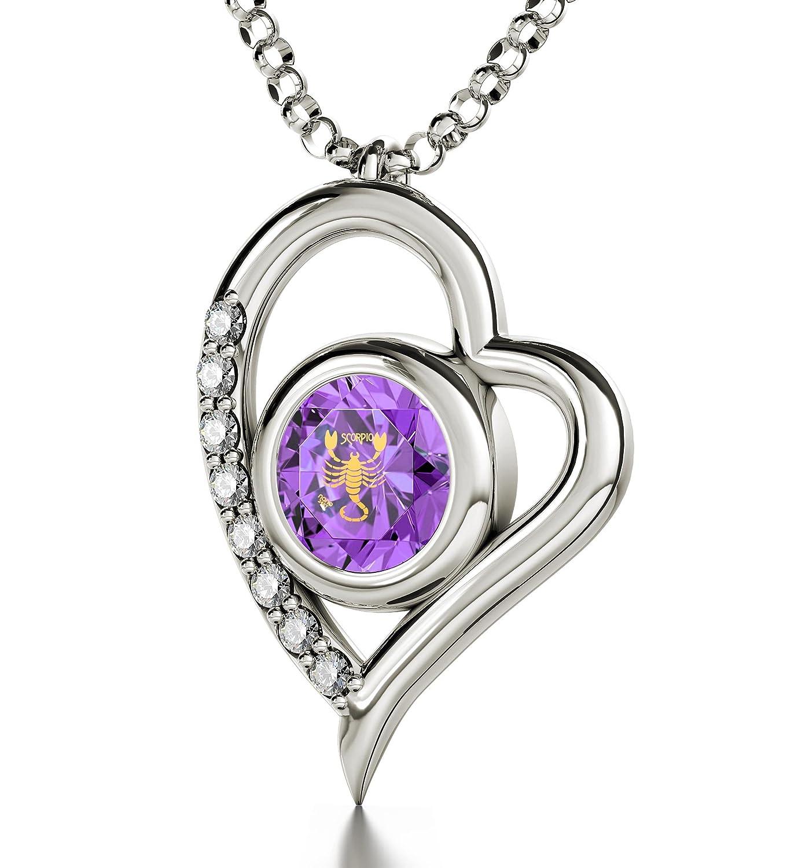 Silberner Skorpion-Schmuck - Herz-Halskette mit Beschriftung in 24k Gold auf violettem, amethystfb. Zirkonia - Sternzeichen-Anhänger - Einzigartige Geburtstagsgeschenk-Ideen für SIE