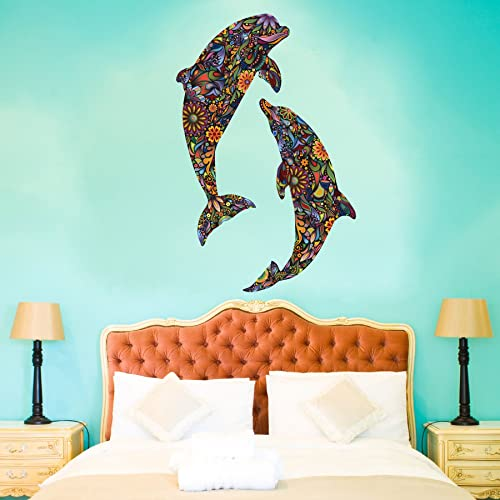Dolphin Duo Wall Stickers Decals for Girls Room or Baby Nursery (Large Pair - 40H)