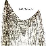 Fishing Net 5' x 10'   Authentic Nautical Net   Decorative Fish Net   Plus Free Nautical Ebook by Joseph Rains (1 Pack) (Tamaño: 1 Pack)