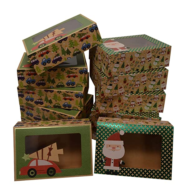 Christmas Doughnut and Cookie gift boxes; rectangle with clear window; brown kraft with hot stamp Christmas designs; 6 of each print; set of 12 boxes (12 x 3.75 x 2.75) (12, 8.6 x 6 x 2.75 Style B) (Color: Multicolor, Tamaño: 8.6 x 6 x 2.75 Style B)