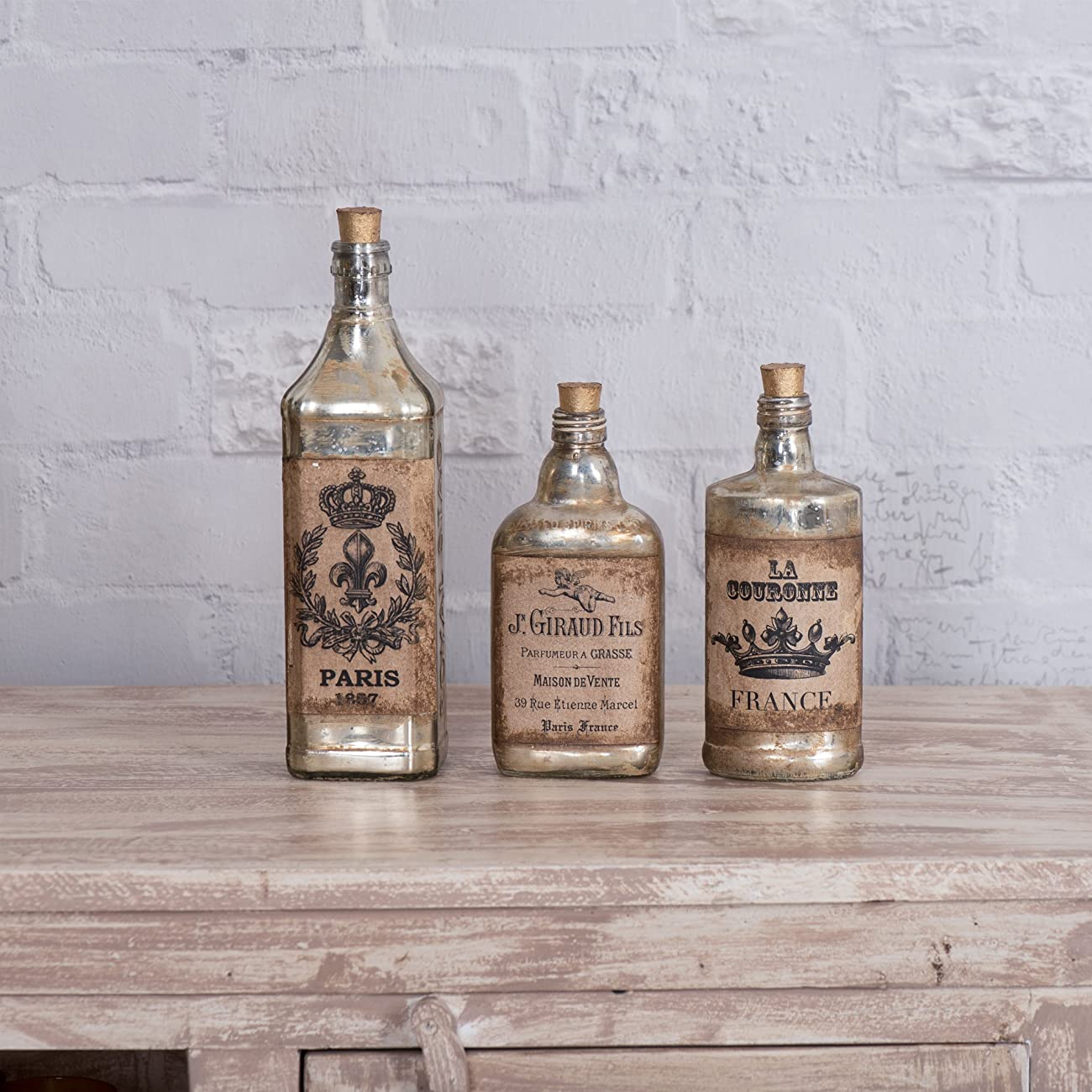 FABULIV Edwin Vintage Style Glass Decorative Bottles (Set of 3), Antique Gold 0