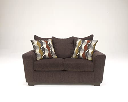 Brogain Contemporary Brown chenille upholstery fabric Loveseat