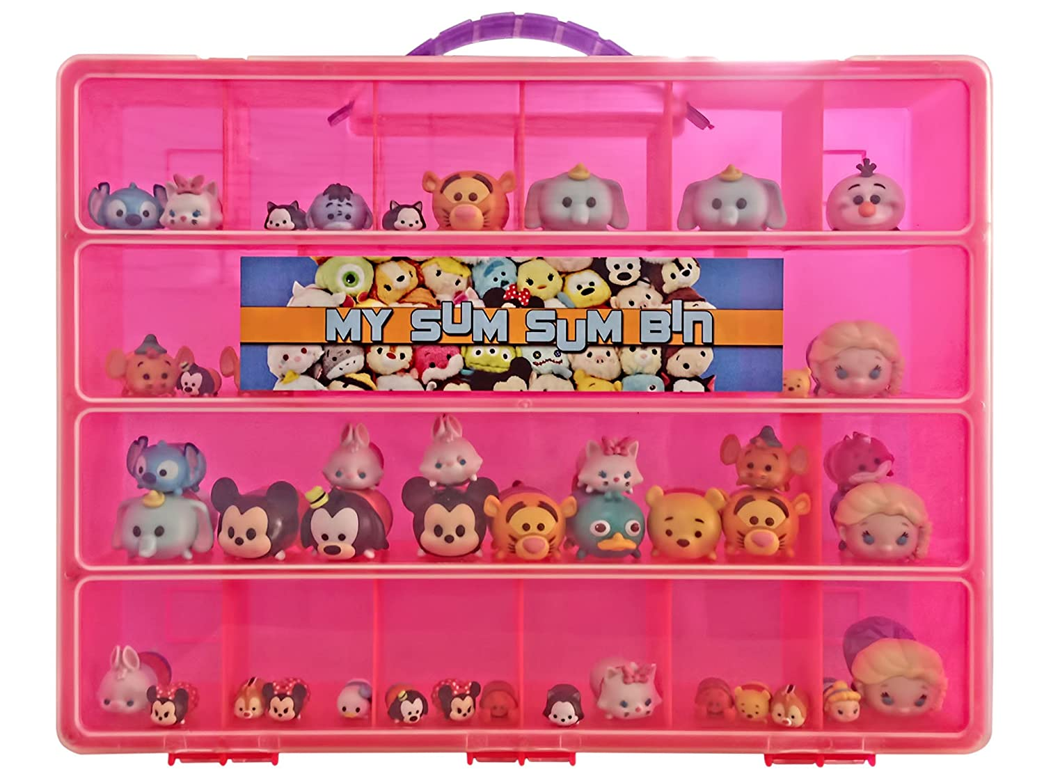 Tsum Tsum TM Compatible Organizer -My Sum Sum Bin Is The Perfect Tsum Tsum TM Compatible Storage Box- Fits Up to 50 Tsum Tsum Figures In All Styles - Large Sturdy Case And Carrying Handle (Pink)