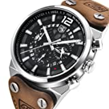 Watches Men's Fashion Business Quartz Watch with Brown Leather Classical Casual Wrist Watch for Men (Brown-Black)