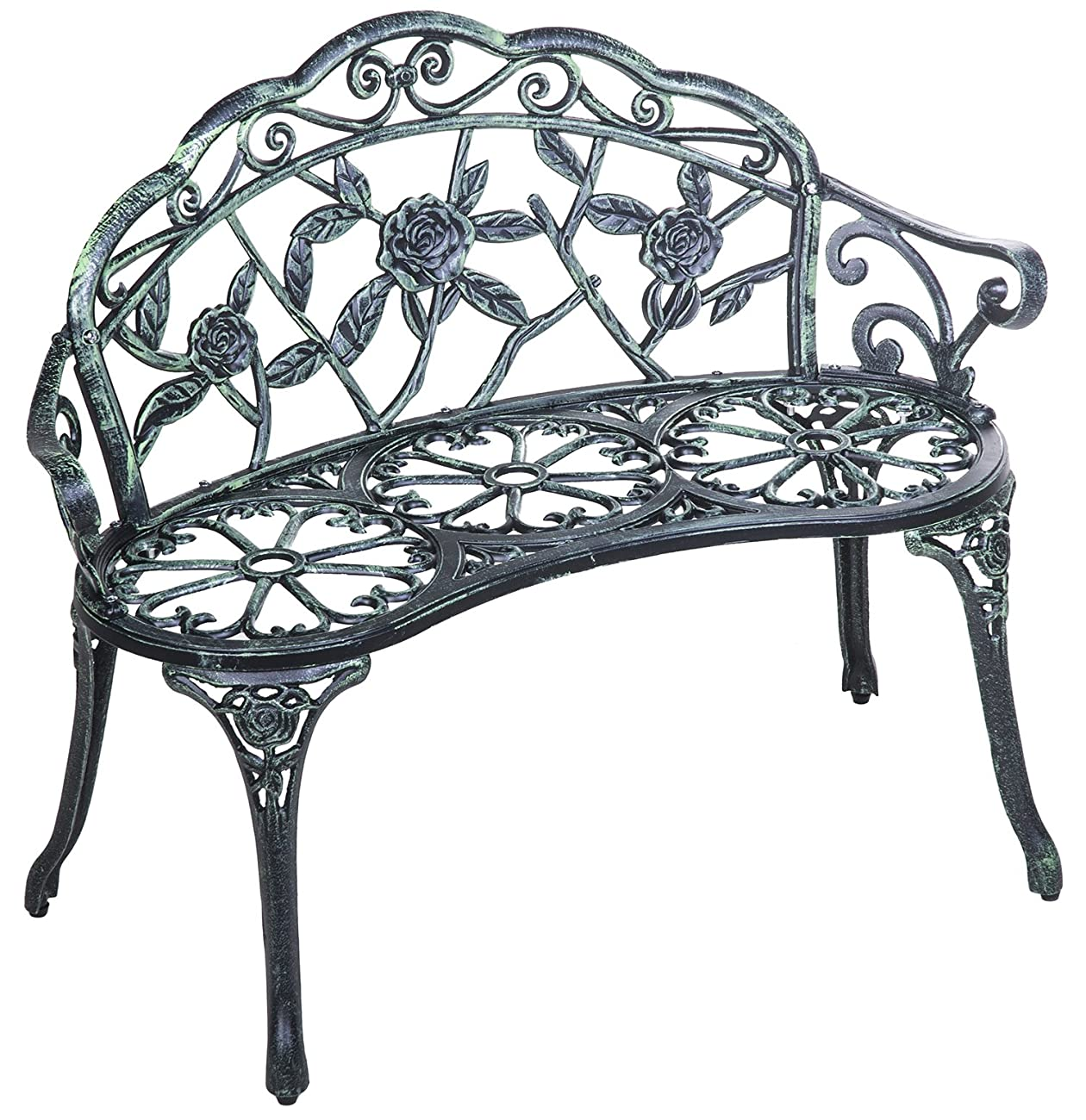 Merax Cast Iron Antique Rose Style outdoor Patio Garden Park Bench, Cast Iron 0
