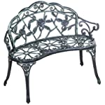 Merax Cast Iron Antique Rose Style outdoor Patio Garden Park Bench, Cast Iron