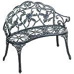 Merax Cast Iron Antique Rose Style outdoor Patio Garden Park Bench, Cast Iron