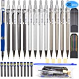 EAONE 30 Pieces Mechanical Pencil Set 13pcs Mechanical Pencils Assorted Sizes (0.5 mm, 0.7 mm, 2.0 mm) and 12 Tubes Lead Refills with 4 Erasers, 1 Plastic Zipper Bag for Drafting Drawing Writing (Color: Blue)