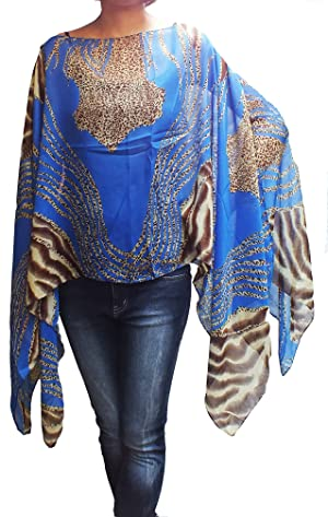 Scarf Caftan Tunic Poncho Cover-up, Tiger Print, Blue Color