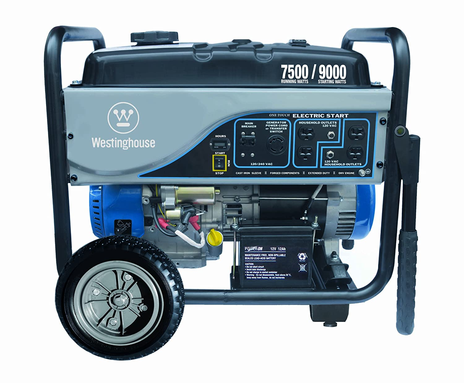 Westinghouse WH7500E, 7500 Running Watts/9000 Starting Watts, Gas Powered Portable Generator