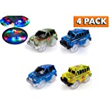 Light Up Toy Car Green Military Jeep, 2 Blue Police Cars and Yellow School Bus MEGA PACK 4 piece set with 5 LED Lights Compatible with Most Tracks Including Magic Tracks for Boys and Girls
