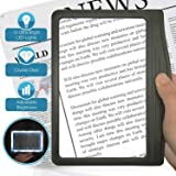 3X Large Ultra Bright LED Page Magnifier with 12 Anti-Glare Dimmable LEDs (Provide More Evenly Lit Viewing Area & Relieve Eye Strain)-Ideal for Reading Small Prints & Low Vision (Color: Black, Tamaño: 8