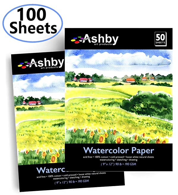 100 Sheets 9 x 12 Inch Canson Watercolor Paper Bulk Pack for Wet and Dry Media 90 Pound