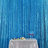 PartyDelight Sequin Backdrop Wedding Curtain Photo Booth, Turquoise, 4FTx6FT (Color: Turquoise, Tamaño: 4FTx6FT)