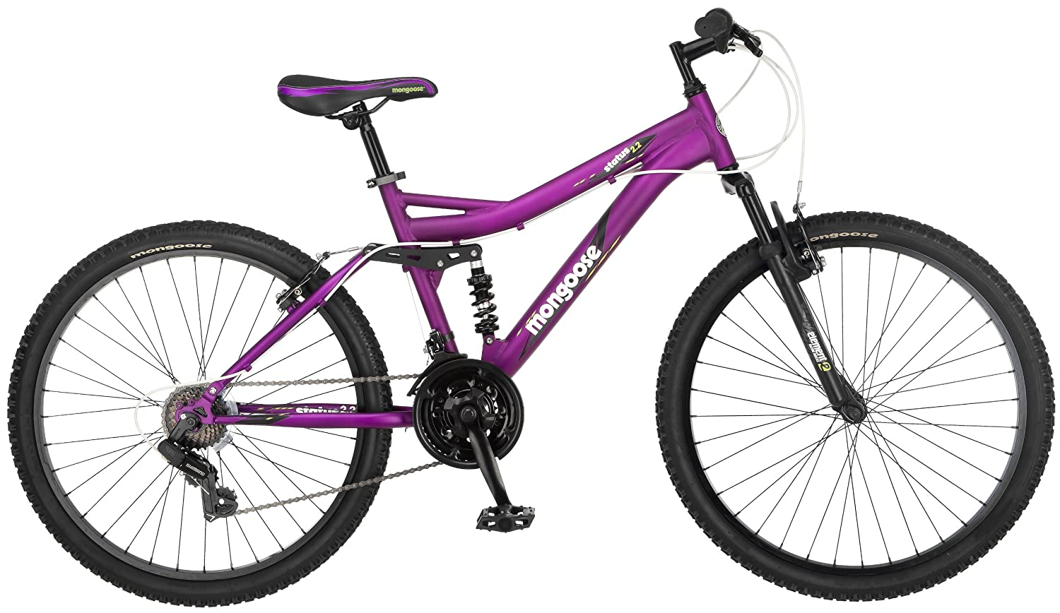 Mongoose Women's Status 2.2 Full Suspension Bicycle (26-Inch Wheels), Matte Purple, 16-Inch review 1