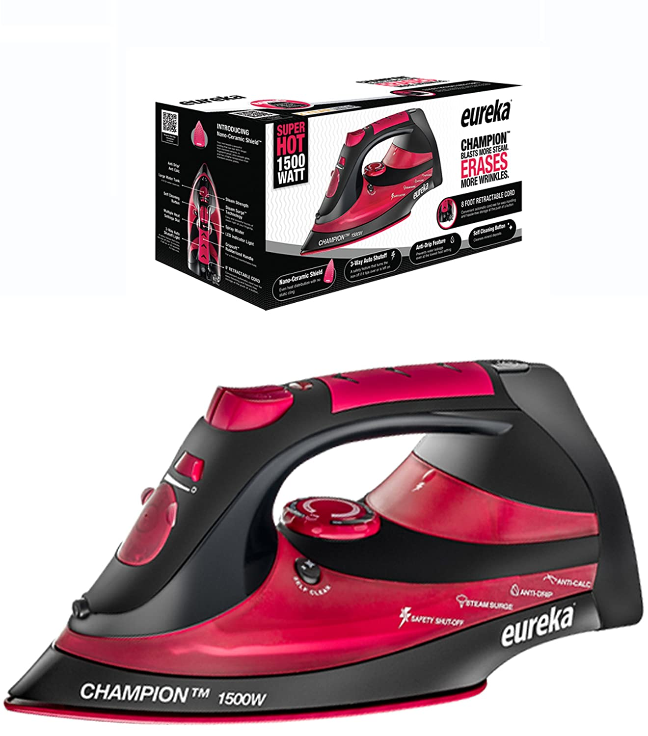 Eureka Champion Super Hot 1500 Watt Iron Powerful Steam Surge Technology With 8 FT Retractable Cord-Red-Pouch Included