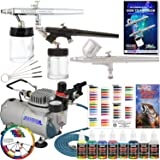 3 Airbrush Professional Master Airbrush Airbrushing System Kit with 6 U.S. Art Supply Primary Colors Acrylic Paint Artist Set - G22, S68, E91 Gravity & Siphon Feed Airbrushes and Air Compressor (Color: Assorted, Tamaño: Kit with Standard Compressor)