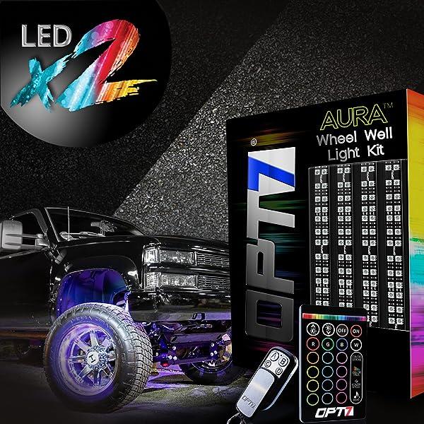 Opt7 aura truck wheel well double row led rim light strip kit 4pc opt7 aura truck wheel well double row led rim light strip kit 4pc complete 24 inch aloadofball Choice Image