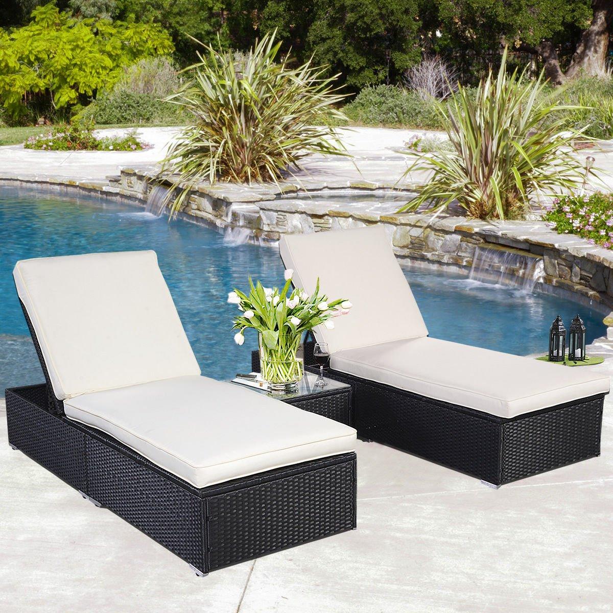 globe house products ghp 3 pc black wicker rattan patio pool chaise lounge tea