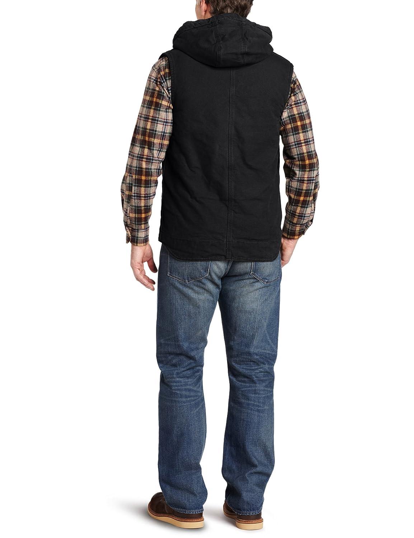 Carhartt Men's Sandstone Duck Hooded Multi Pocket Vest Sherpa Lined