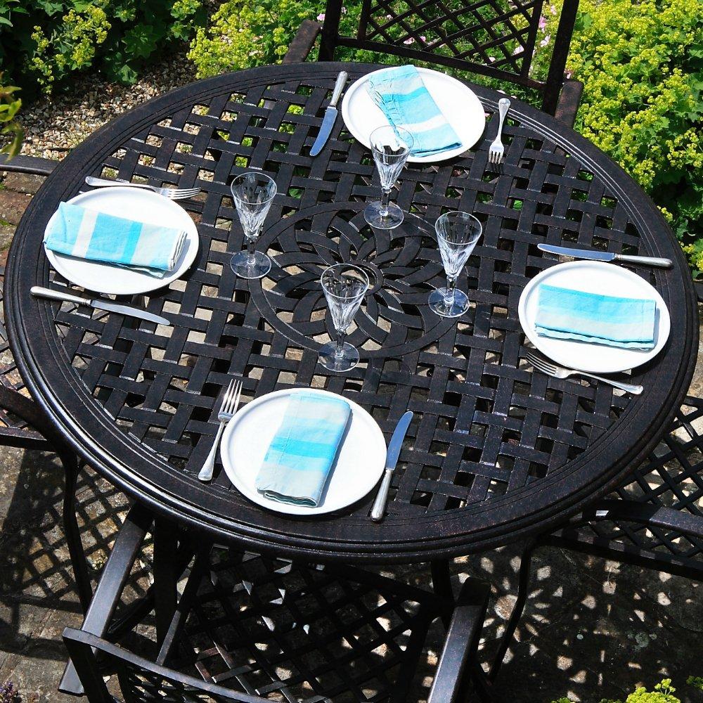 Lily 120cm Rundes Gartenmöbelset Aluminium - 1 LILY Tisch + 4 MARY Stühle