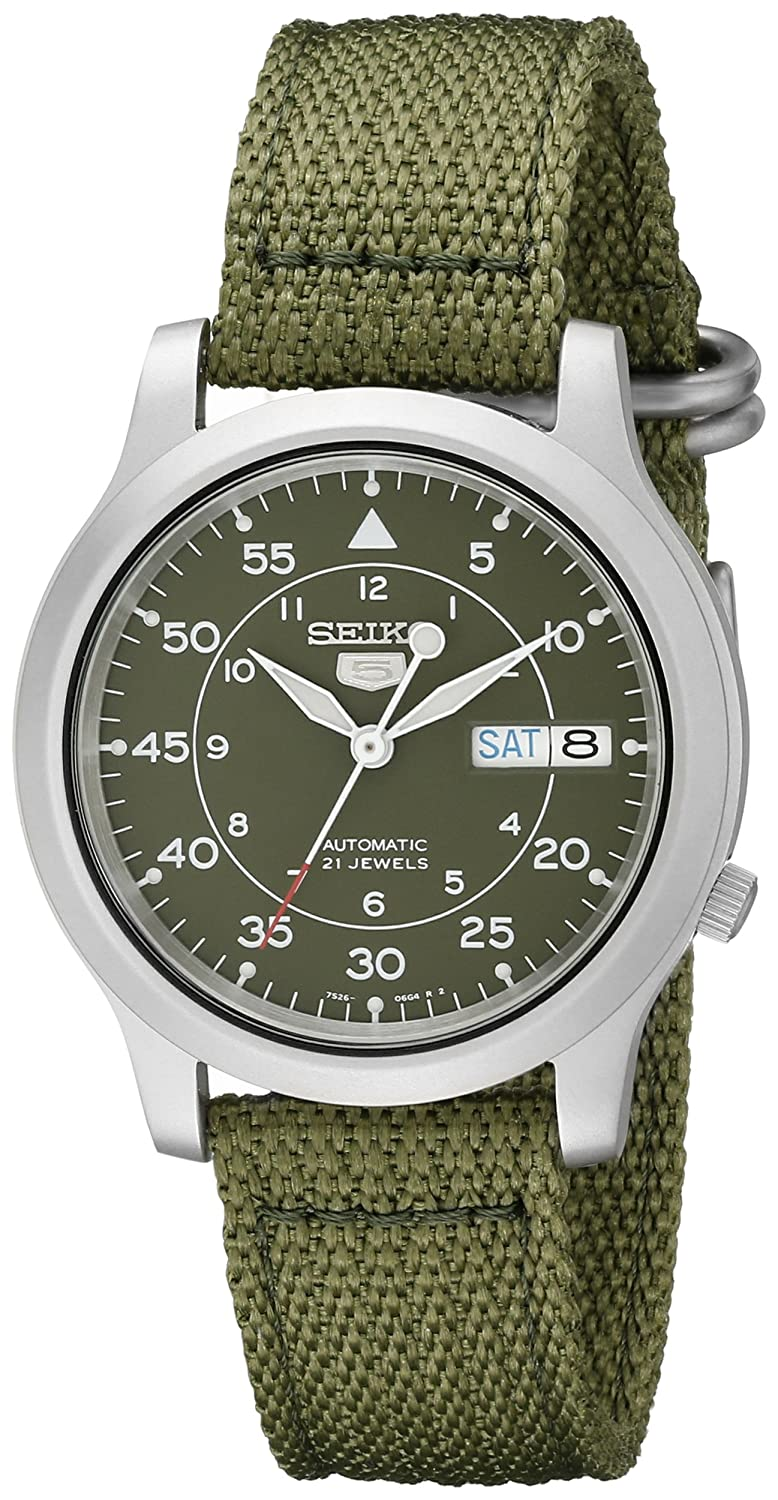 Seiko Men's SNK805 Seiko 5 Automatic Stainless Steel Watch with Green Canvas Strap casio edifice efr 552gl 2a
