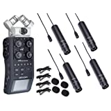 Zoom H6 Six-Track Portable Handy Recorder Bundle with 4-PACK of Movo XLR Lavalier Omnidirctional Clip-on Microphones