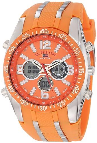 U.S. Polo Assn. Sport Men's US9285 Orange Analog-Digital Chronograph Watch