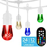 Enbrighten 39511 Vintage Seasons LED Warm White & Color Changing Café String Lights, White, 24ft, 12 Premium Impact Resistant Lifetime Bulbs, Wireless, Weatherproof, Indoor/Outdoor, 24 ft, (Color: White, Tamaño: 24 ft.)