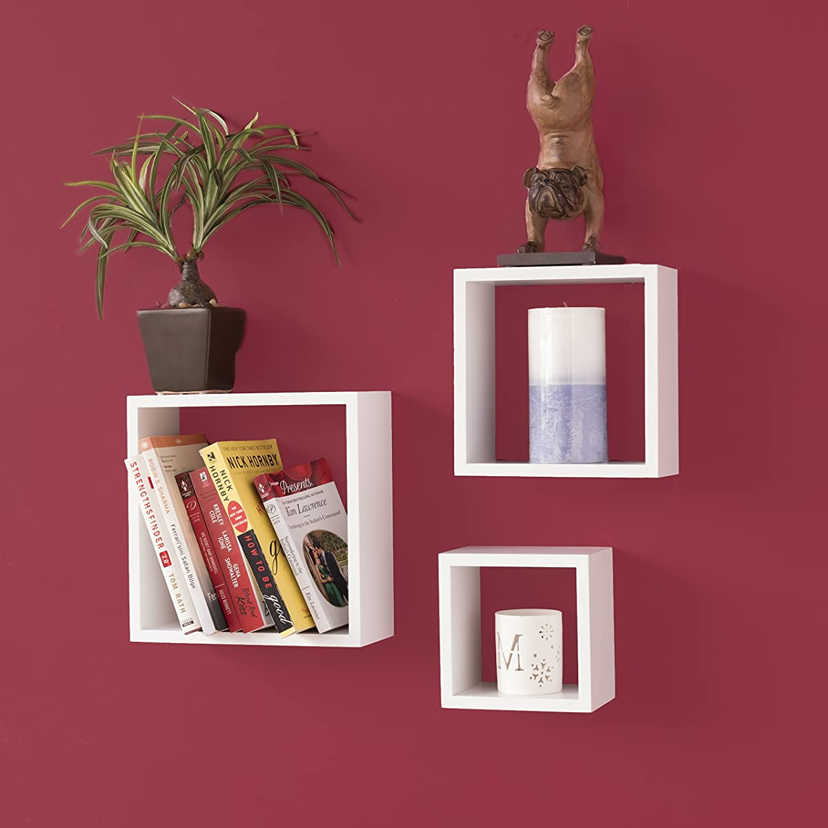 WALLNITURE Modern Home Decor Square Cube Floating Wall Shelf White Set of 3