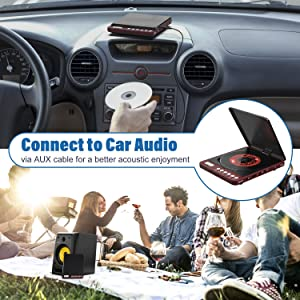 Portable CD Player, 1000mAh Rechargeable Compact Personal CD Player with Double Headphones Jack Support Shockproof/Anti-Skip Protection, Walkman Music Disc Player with Audio Cable for Car Home Travel