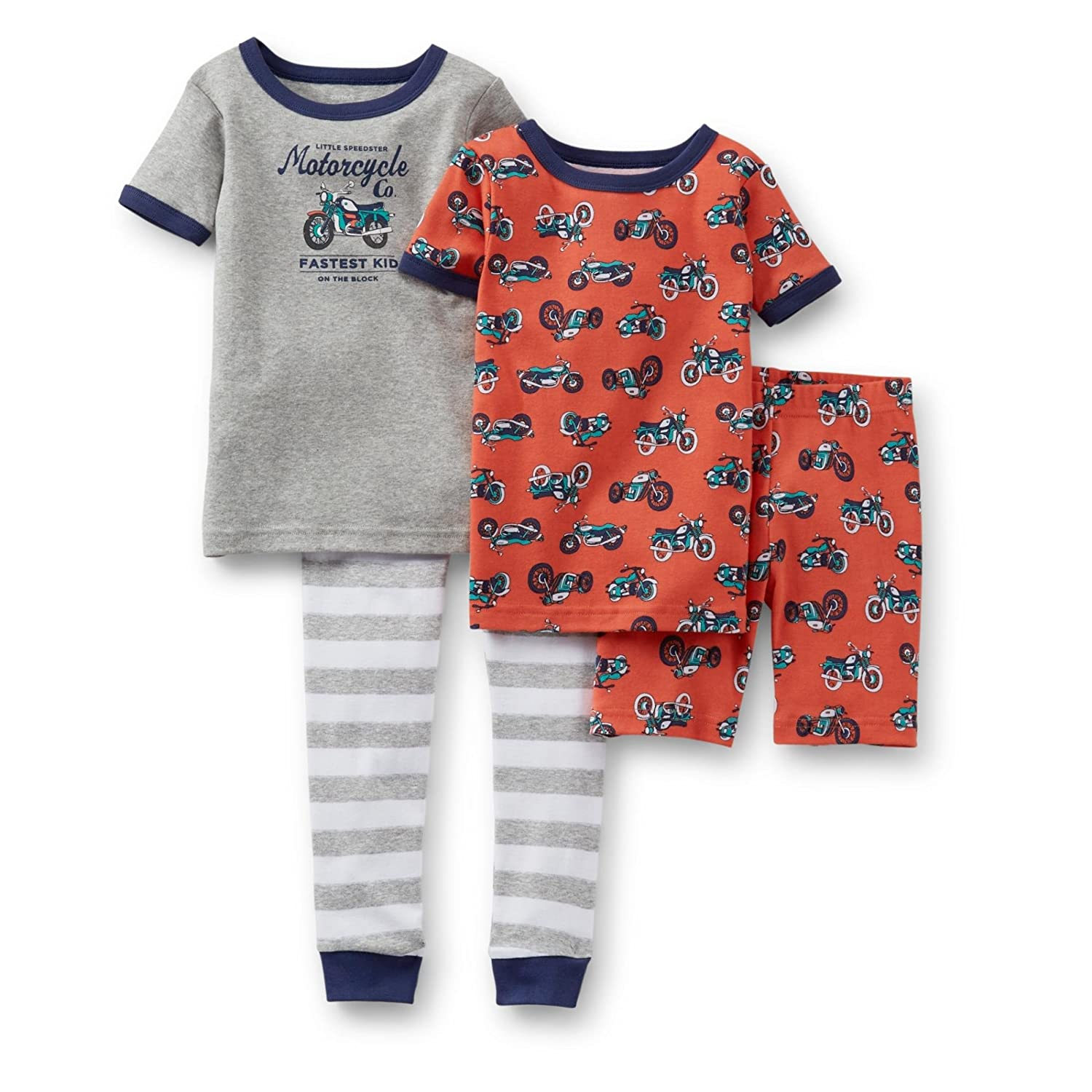 Carters Baby Boys Cotton 4 Piece Motorcycle Pajama Set