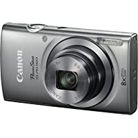 Canon PowerShot ELPH 160 20MP HD Camera with 8x Optical Zoom (Silver) - Refurbished + FREE Soft Case