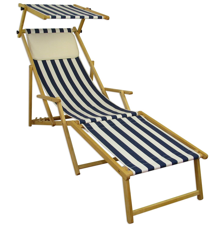 Sonnenliege Gartenliege Deckchair Saunaliege inkl. abnehmbarem Fußteil und Dach Beige günstig bestellen