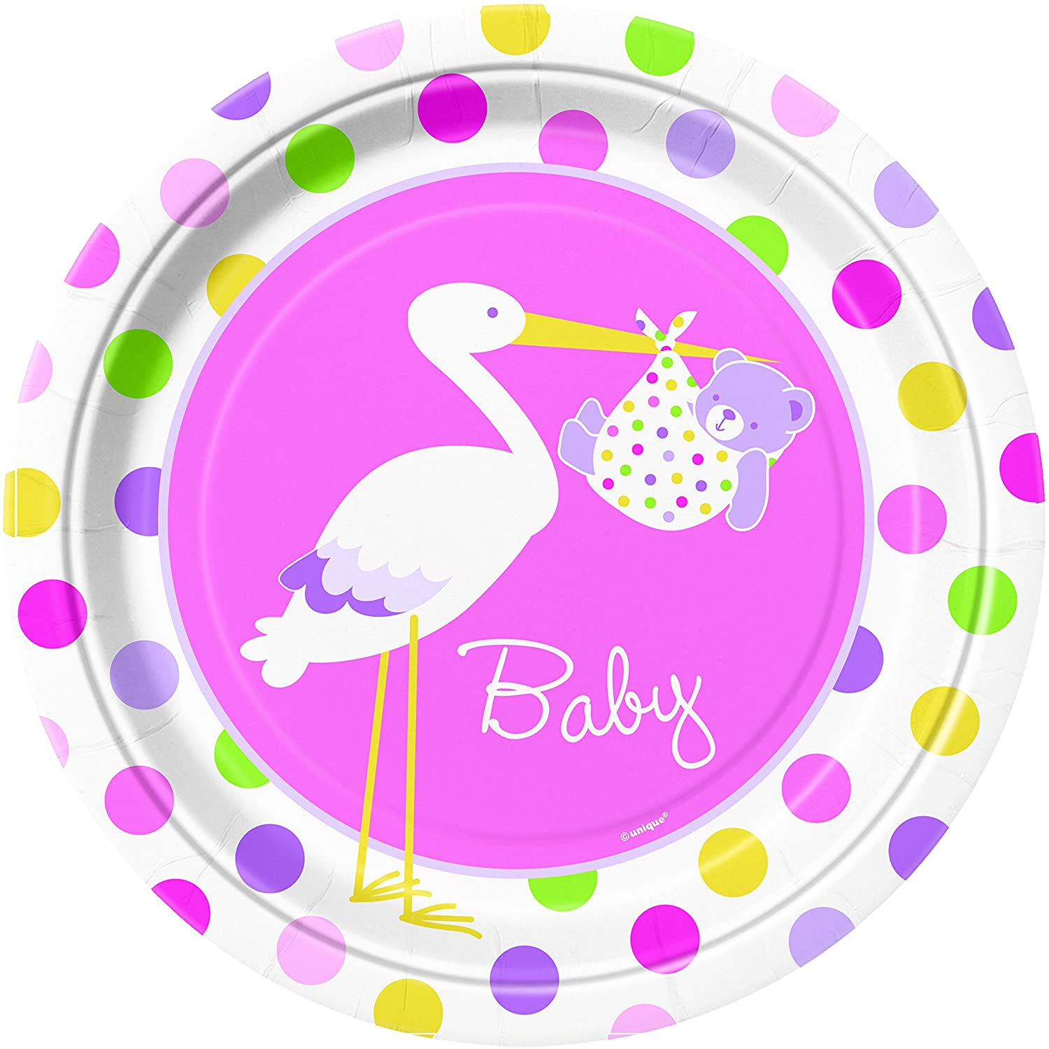 Pink Stork Baby Shower Party Supplies