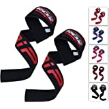 RDX Weight Lifting Straps - Padded Wrist Support Non Slip Flex Gel Grip - Great for Powerlifting, Bodybuilding, Gym Workout, Strength Training, Crossfit, Deadlifts & Fitness Workout (Color: Black/Red, Tamaño: Standard)